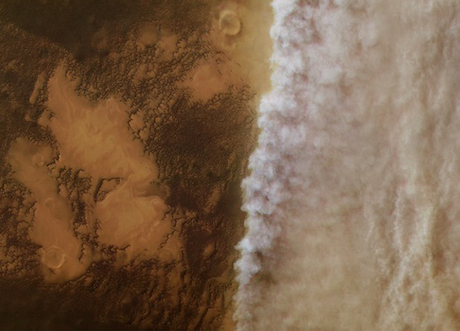 Watching A Martian Dust Storm Roll In From Orbit