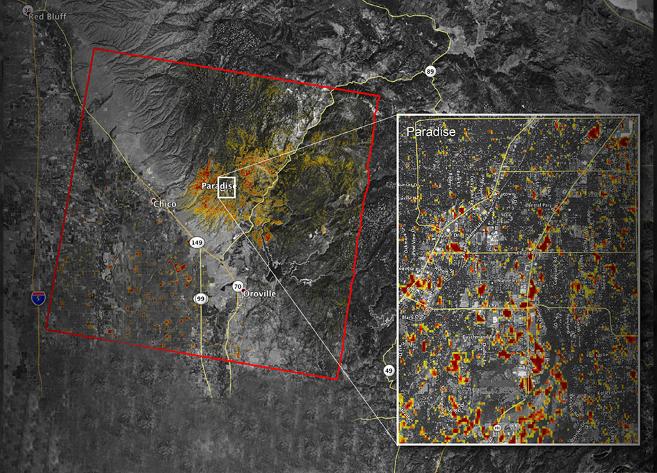 Updated NASA Damage Map of Camp Fire from Space