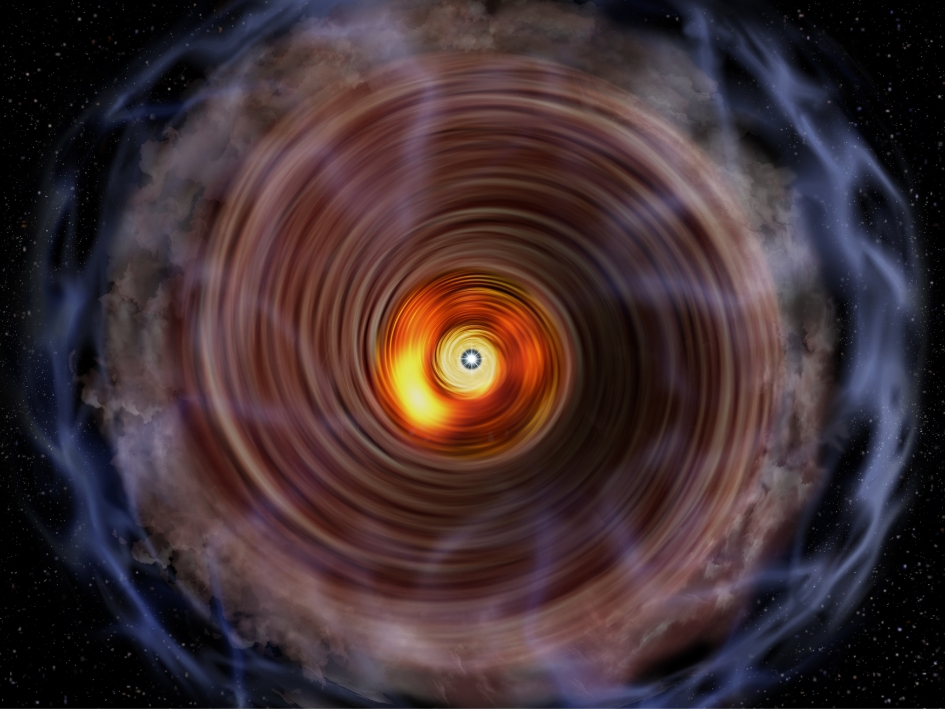 Artist's impression of the gaseous disk and envelope around the massive protostar G353.273+0.641