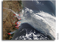 Terra Sees Fire And Smoke From Bushfires In Australia