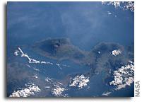 Orbital View Of Active Volcano Mount Tambora