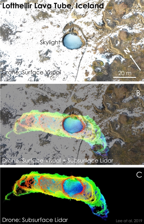 Drone-LiDAR mapping of the skylight entrance area of the Lofthellir Lava Tube Ice Cave in Iceland