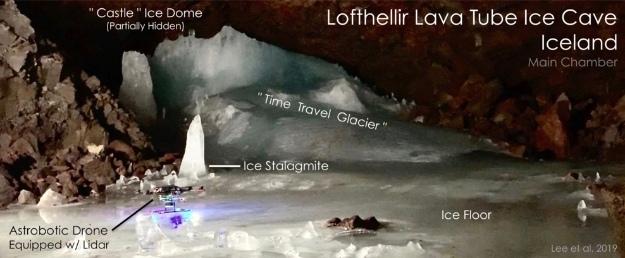 Astrobotic's LiDAR-equipped drone on the floor of the Main Chamber of the Lofthellir Lava Tube Ice Cave in Iceland