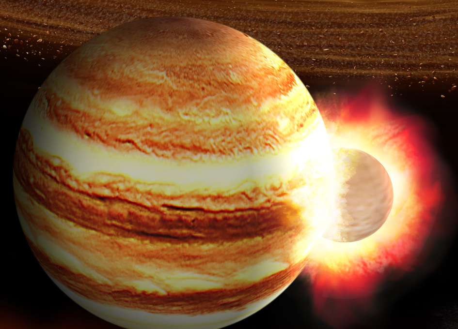 Young Jupiter Collided With A Chaotic Newborn Planet