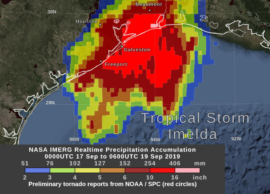 NASA estimates Tropical Depression Imelda's huge Texas rainfall