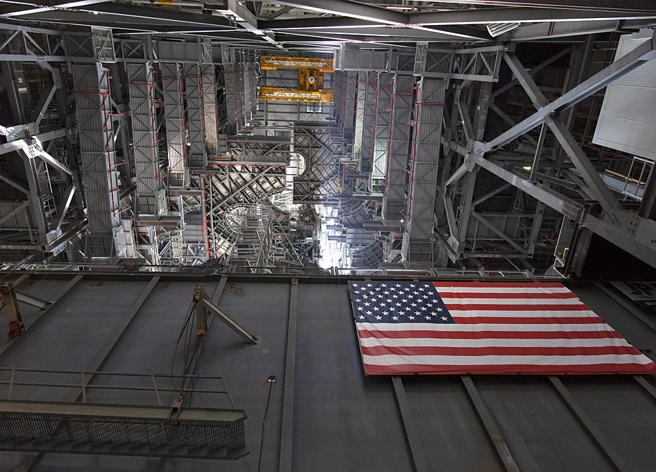 Looking Up At The SLS Mobile Launcher In The VAB