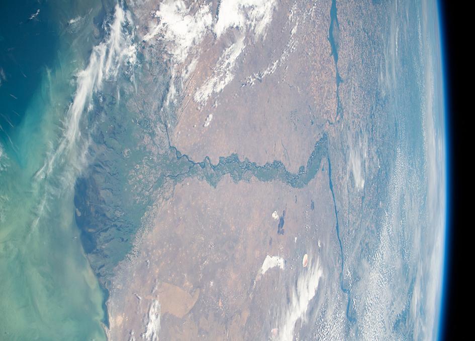 Orbital View: The Volga River Flows Into The Caspian Sea