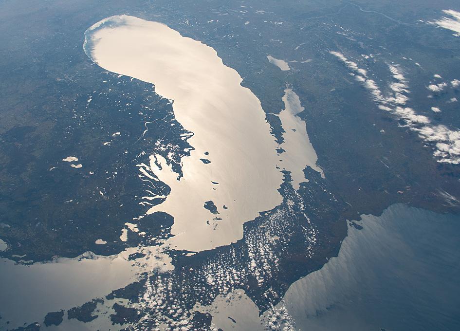 An Orbital View Of Sun Glint On Lake Michigan