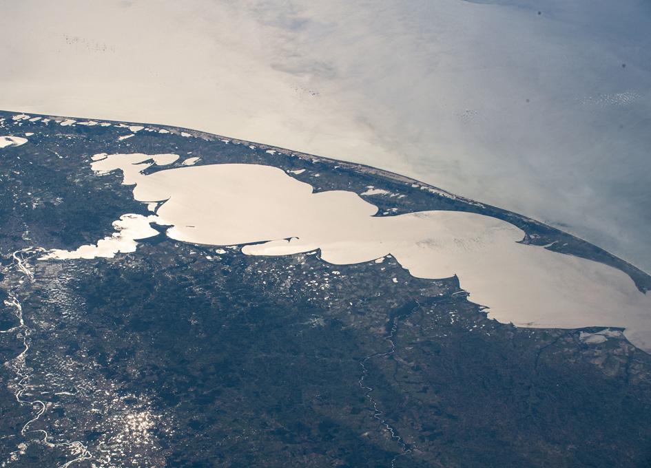 Orbital Sun Glint Beaming Off Brazil's Largest Lagoon Lagos dos Patos