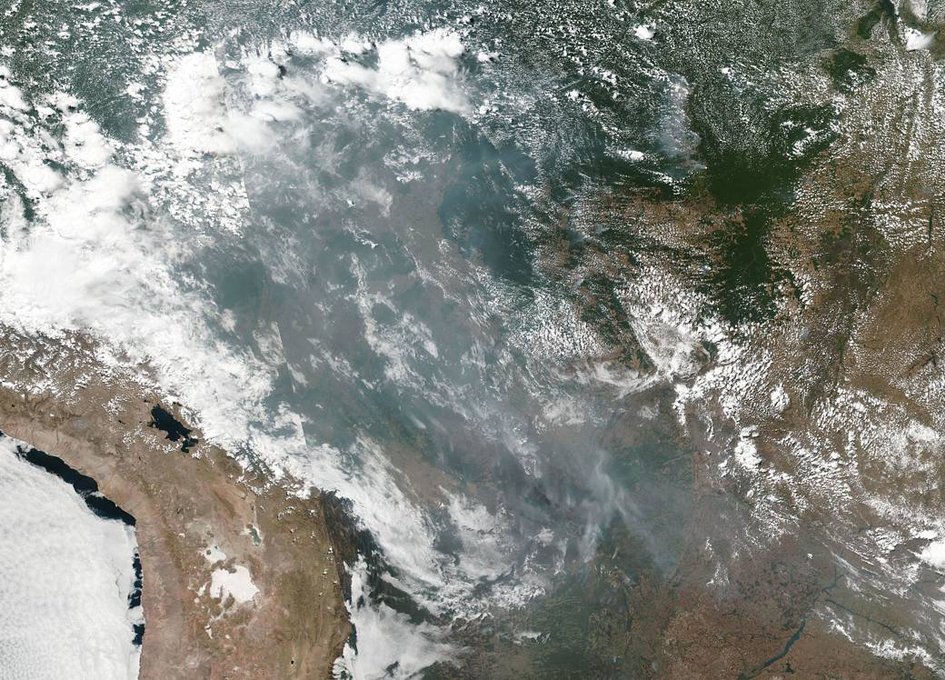 Wildfires in the Brazilian Rainforest Creating Cross Country Smoke