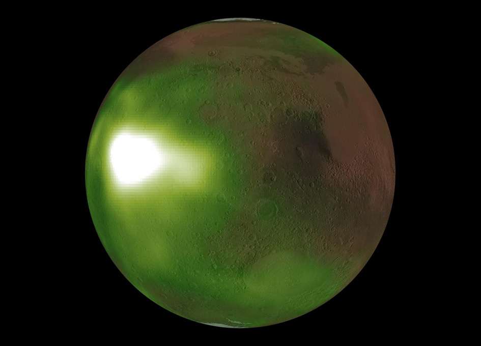 NASA Says Red Planet Mars Glows 'Green Green'