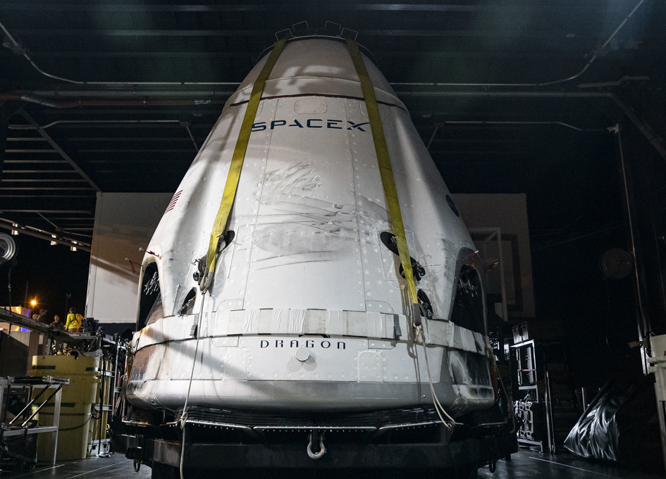 A Slightly Toasted Dragon Returns To SpaceX For A Clean Up