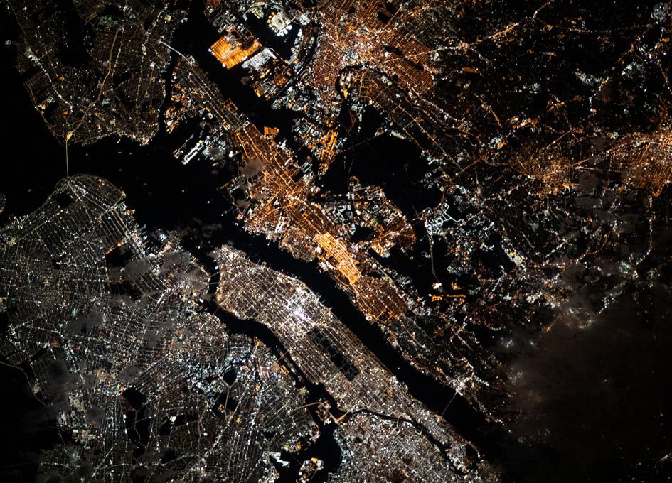 New York City At Night From Orbit