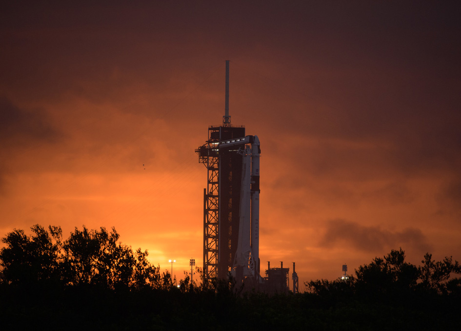 SpaceX Falcon 9 With Crew Dragon Greets The Dawn