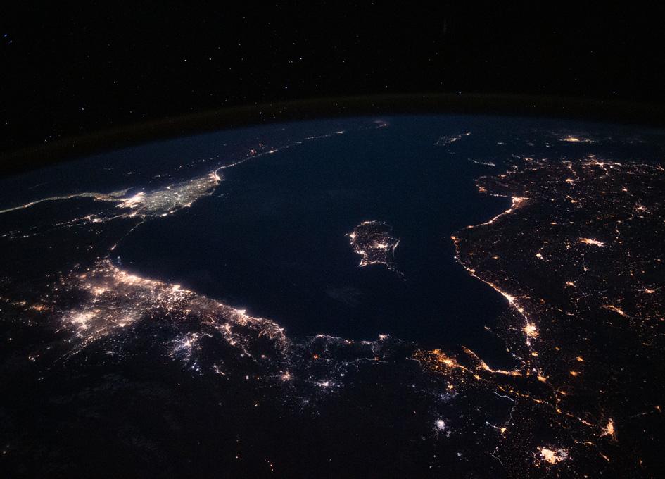 Mediterranean Sea At Night From Orbit