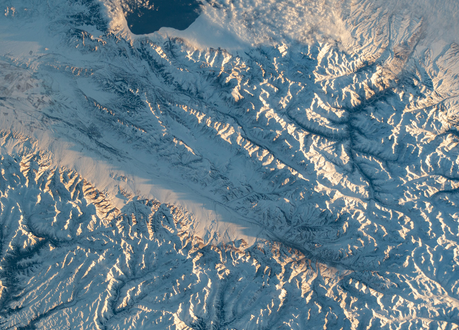 Snow-covered Mountains Along The Kazakhstan-China Border