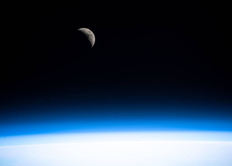 A Waxing Crescent Moon As Seen In Orbit