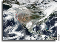 Orbital View: Smoke From Fires Stretching Across the Country