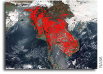 Southeast Asian Peninsula Displays Large Concentrations of Fires