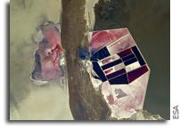 Salt Flats In Makgadikgadi, Botswana As Seen From Space