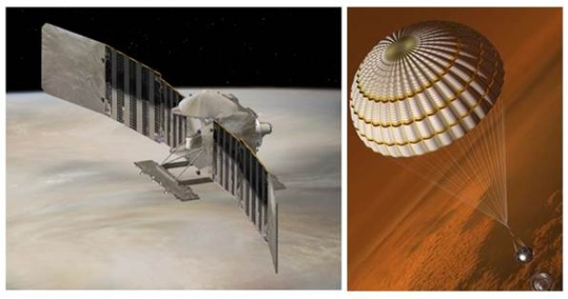 Artists' renderings show the VERITAS spacecraft (left) and DAVINCI+ probe (right) as they arrive at Venus. Credit: Lockheed Martin.