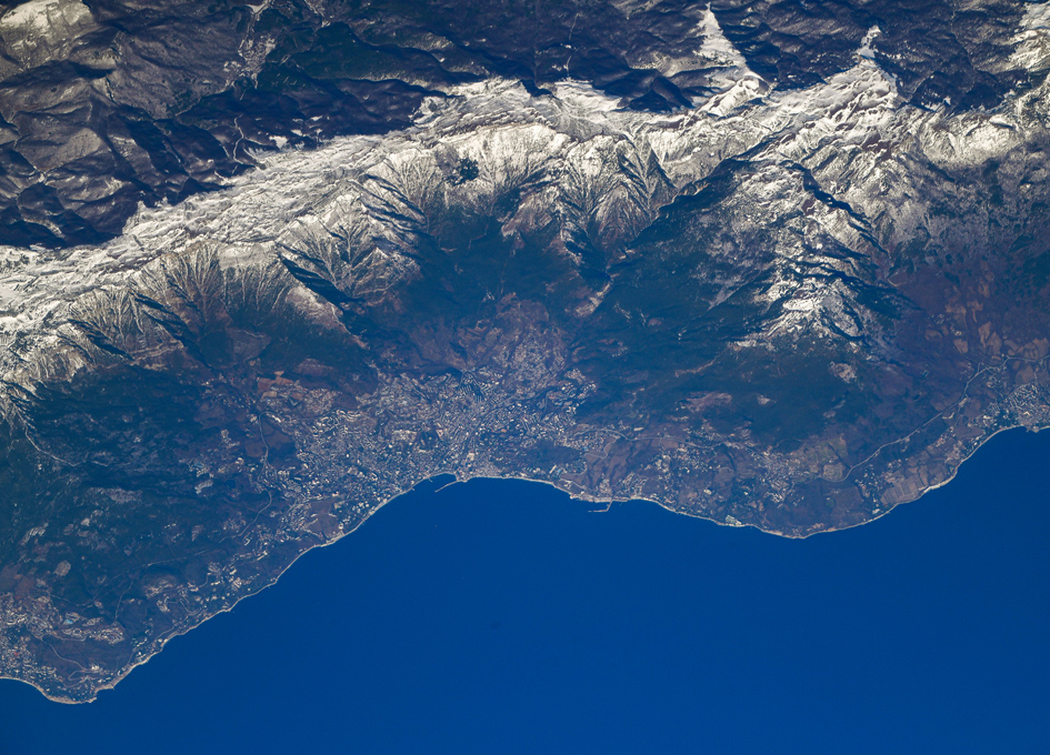 Crimean Mountains And Yalta Seen From Orbit