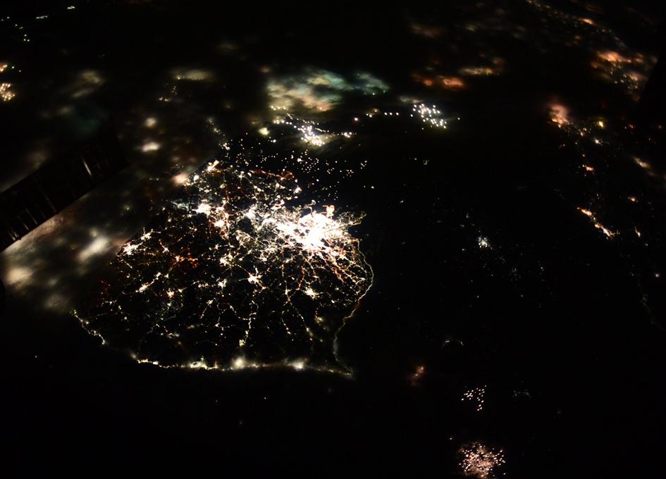 Korean Peninsula At Night From Orbit