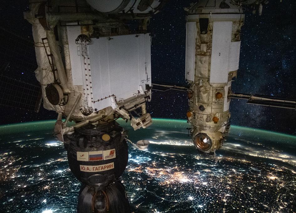 The Ю. А. Гагарин (Y. A. Gagarin) Soyuz MS-18 and Nauka Lab Module