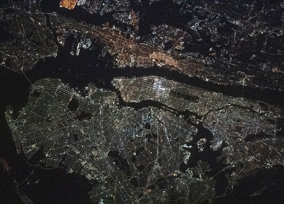 New York City At Night As Seen From Orbit