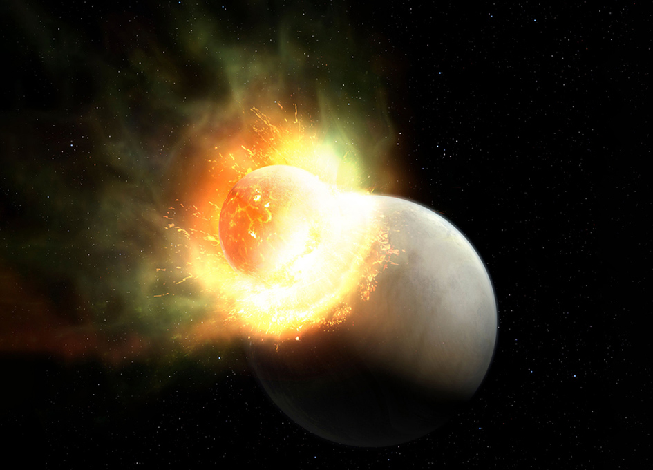 Signs Of An Atmosphere Stripped From A Planet In A Giant Impact