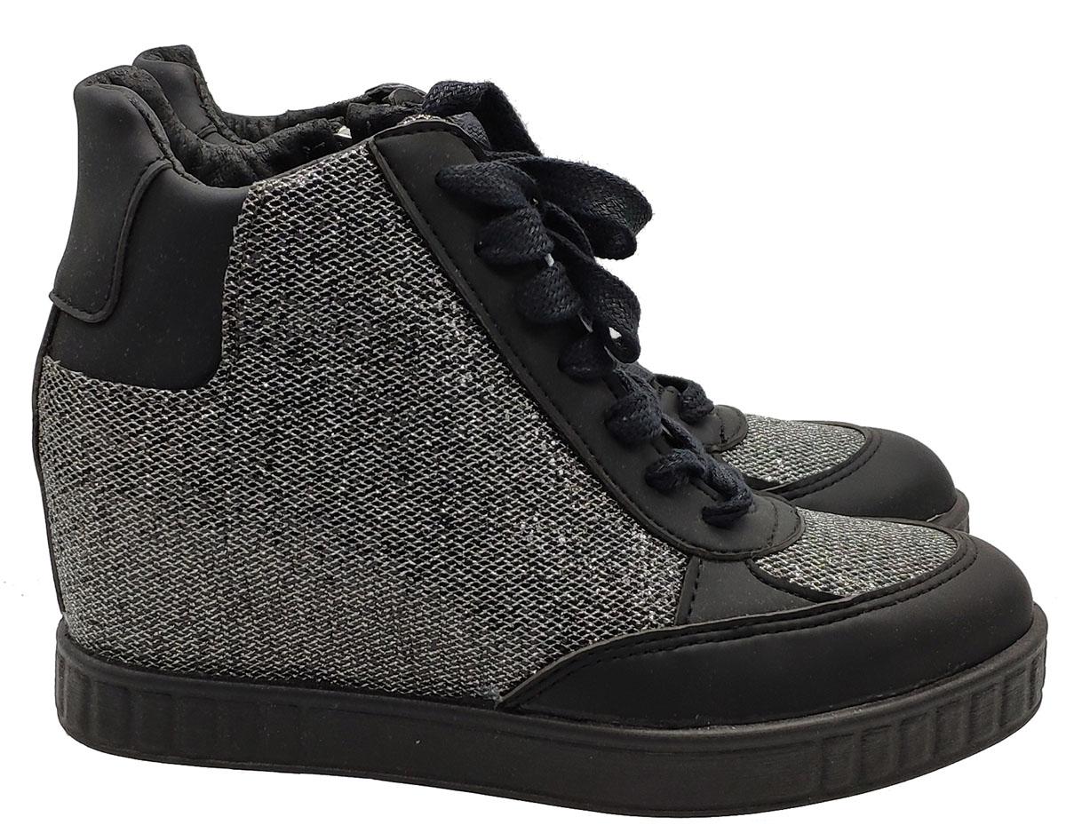Calzature Donna Sneakers In Tessuto Glitter Acciaio e Inserti In Pelle Nera Woz   Sneakers   ART10DM1985NERO/ACCIAIO