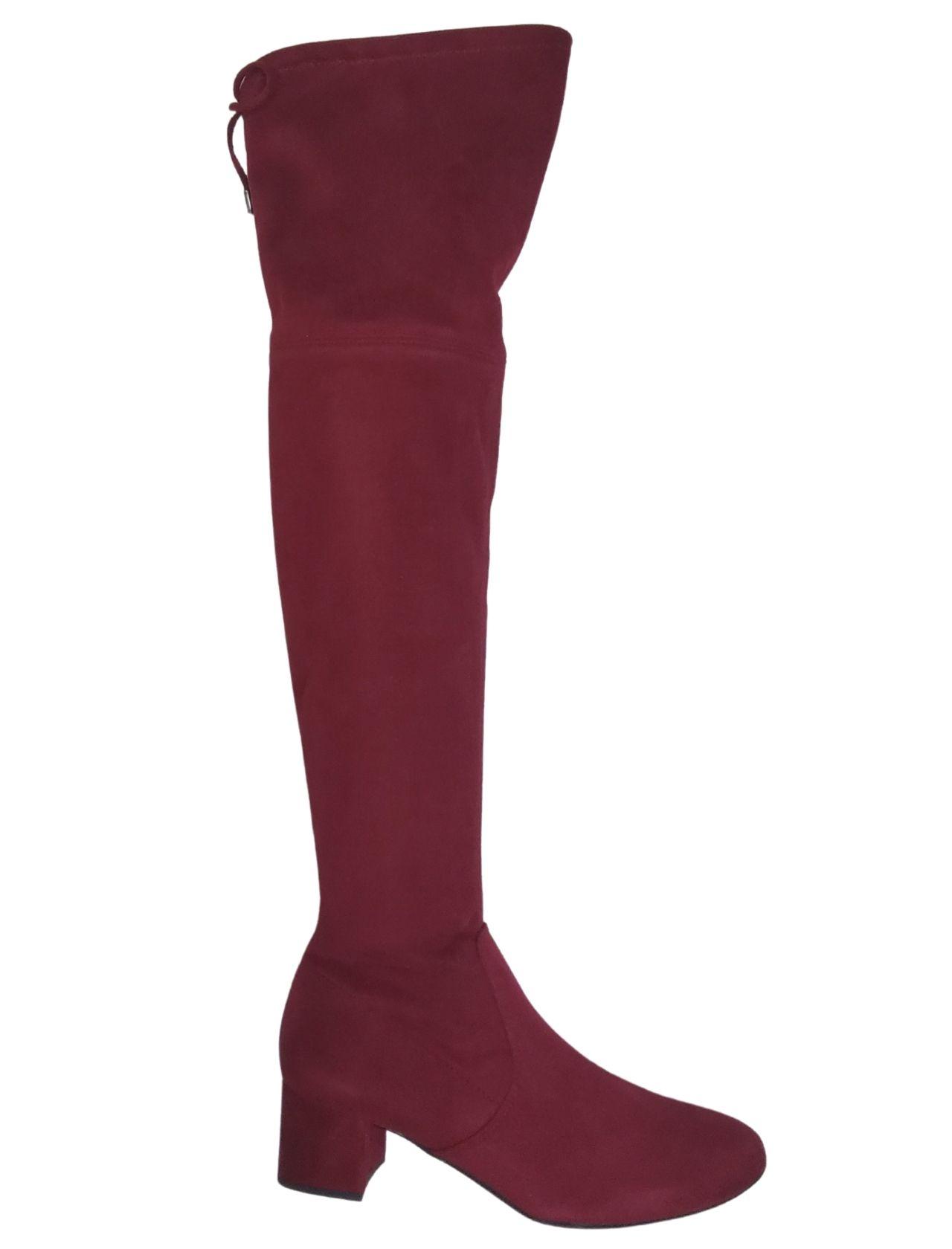 Calzature Donna Stivale Sopra Ginocchio Donna In Eco Camoscio Rosso Con Laccetti Posteriori Unisa | Stivali | KONGOROSSO
