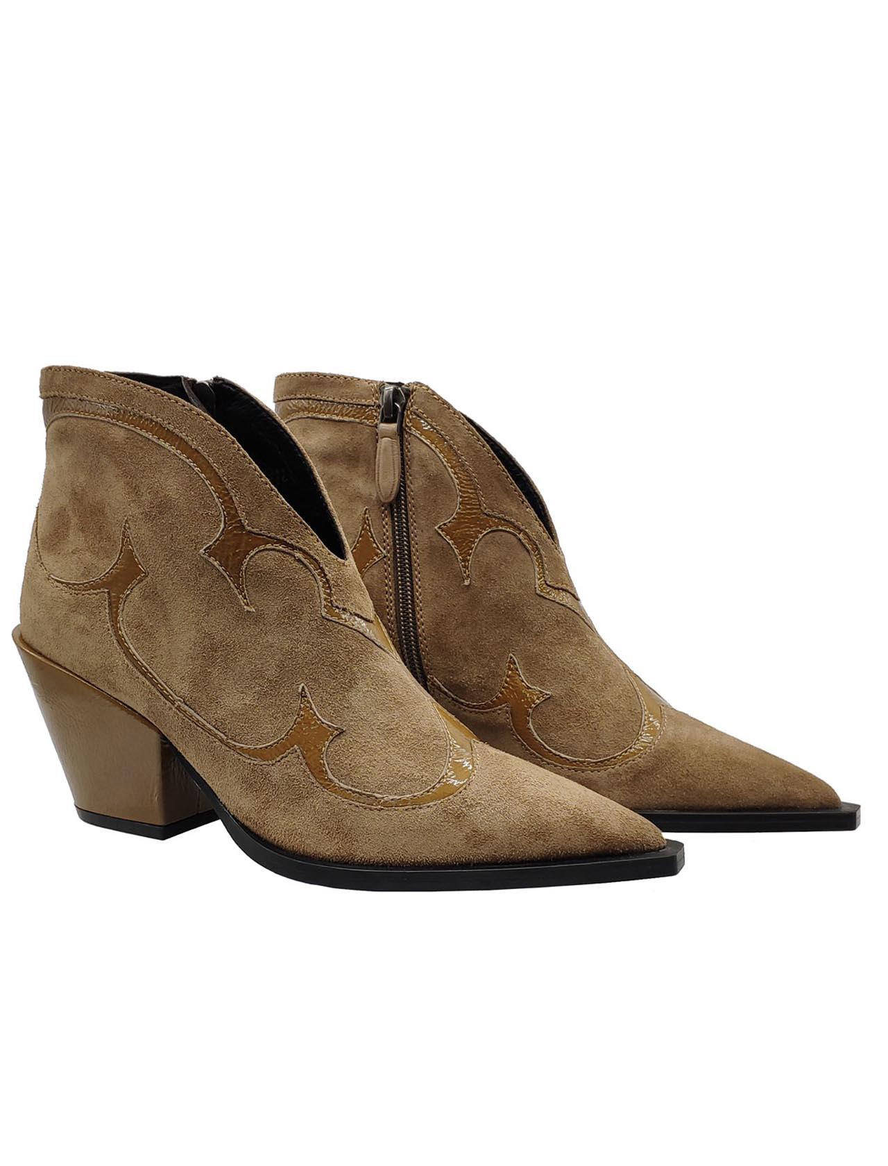 Calzature Donna Stivaletti Texani In Camoscio Beige Con Inserti In Vernice e Tacco Bruno Premi | Stivaletti | BY6303XBEIGE