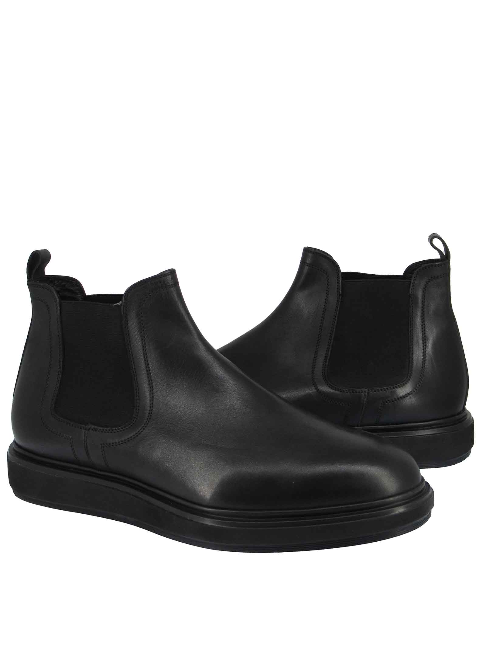 Calzature Uomo Stivaletti Chelsea Boot in Pelle Nera e Fondo Gomma Zeppa Jerold Wilton | Stivaletti | 1072NERO