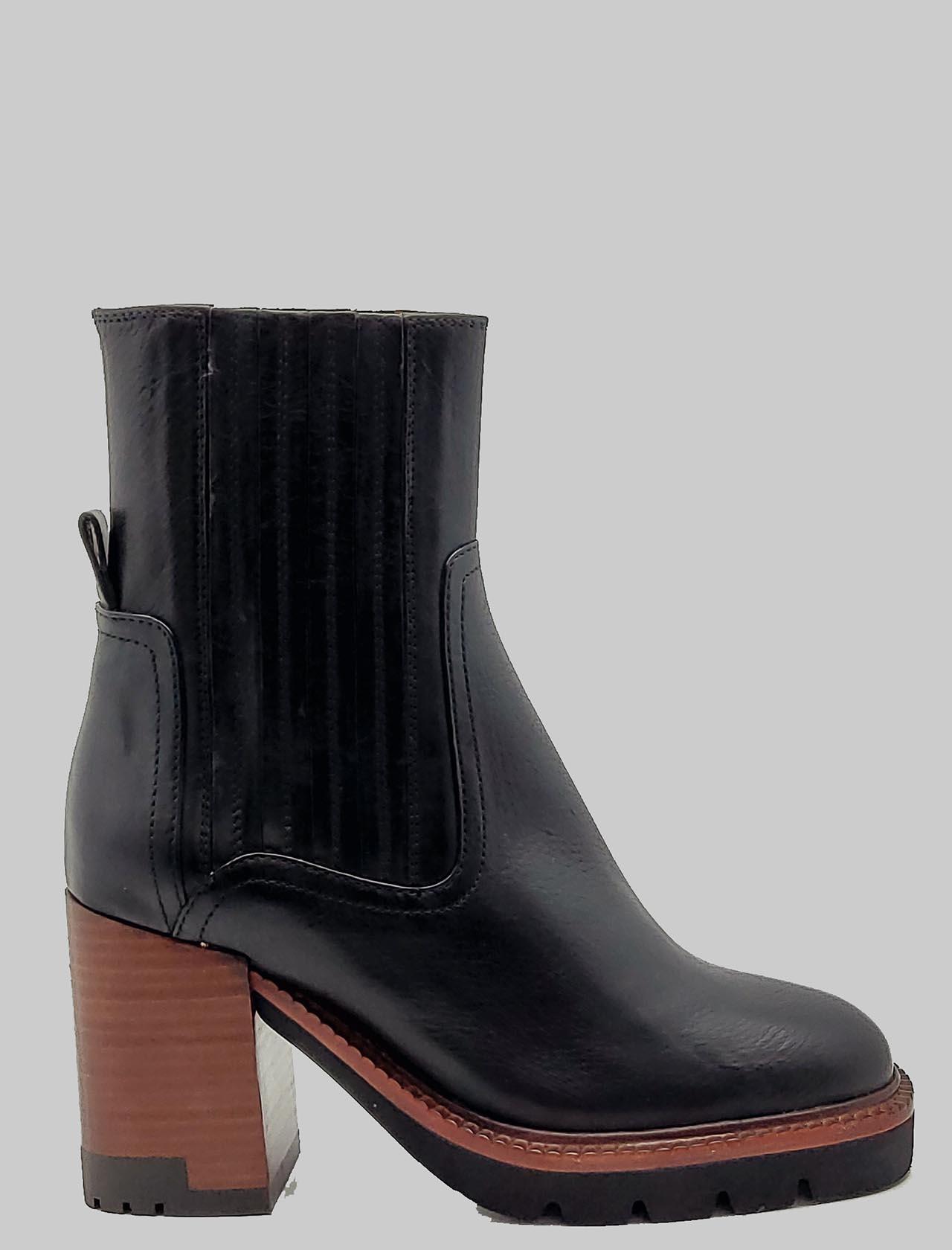 Calzature Donna Stivaletti Chelsea Boot In Pelle Nera Con Tacco In Cuoio E Plateau Carrarmato Bruno Premi | Stivaletti | BA1204XNERO