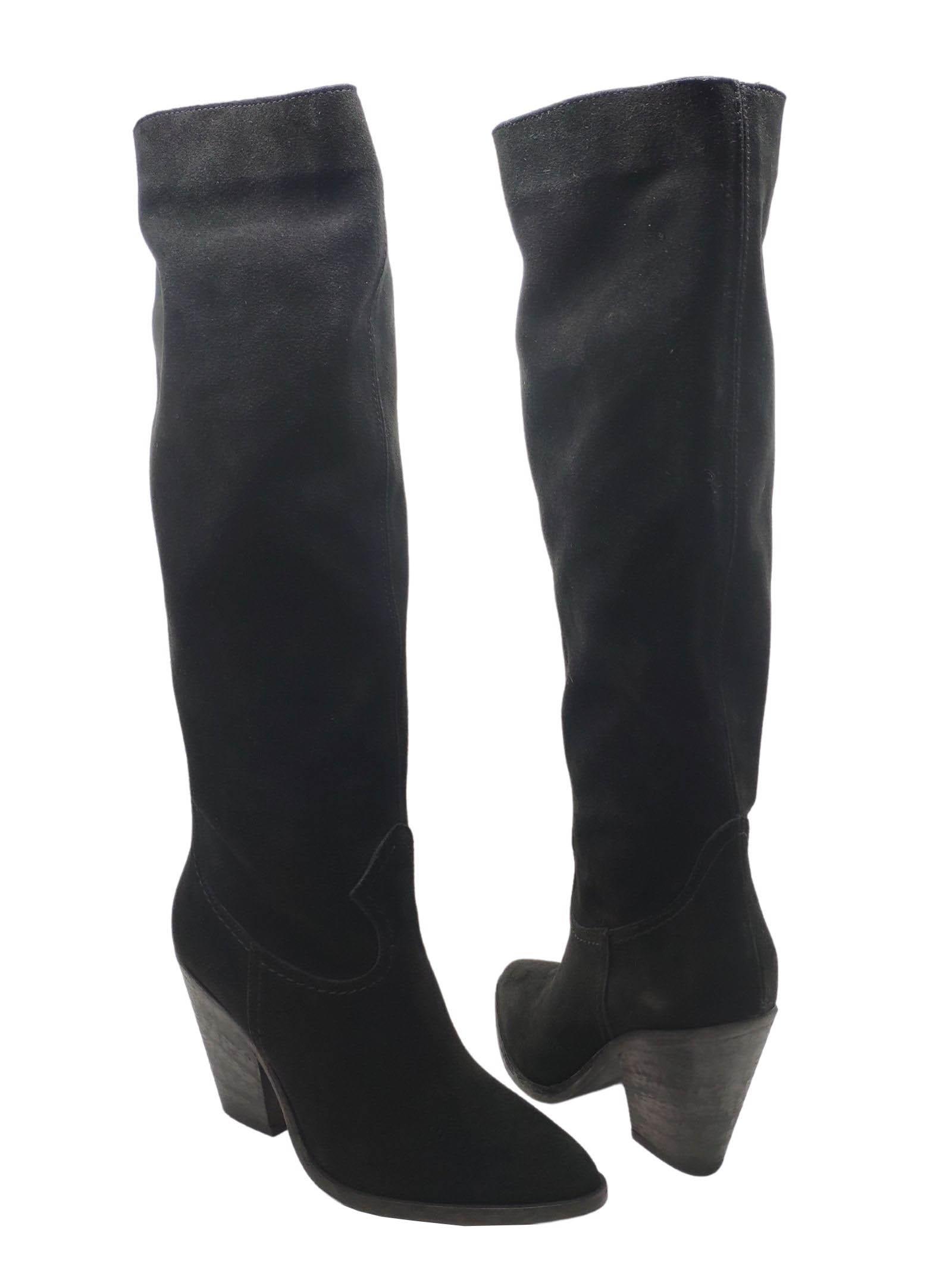 Calzature Donna Stivali Texani In Pelle Scamosciata Nera Con Tacco Alto Spatarella | Stivali | P210NERO