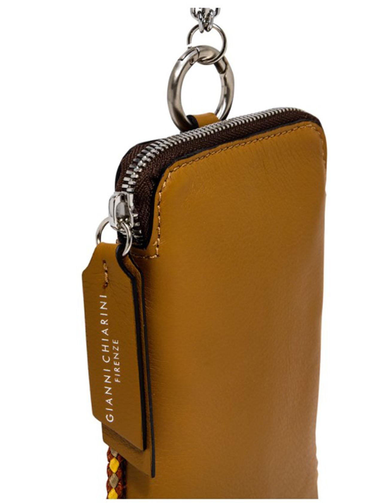 tracolla donna bustina flash piccola pelle senape con tracolla in catena argento Gianni Chiarini | Borse e zaini | BS8100SENAPE