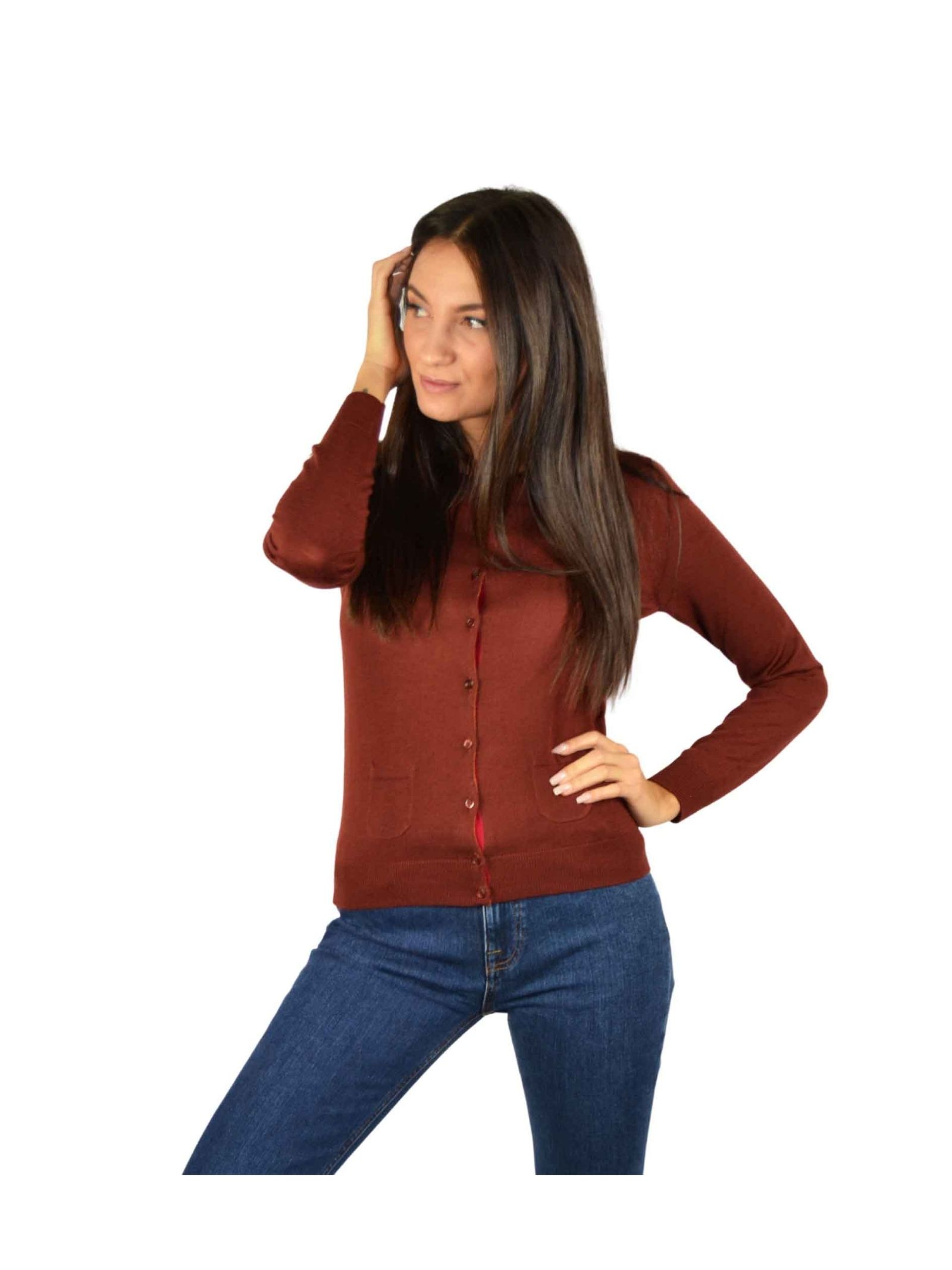 Short Cardigan Woman Brown Maliparmi | Knitwear | JN22837423040011