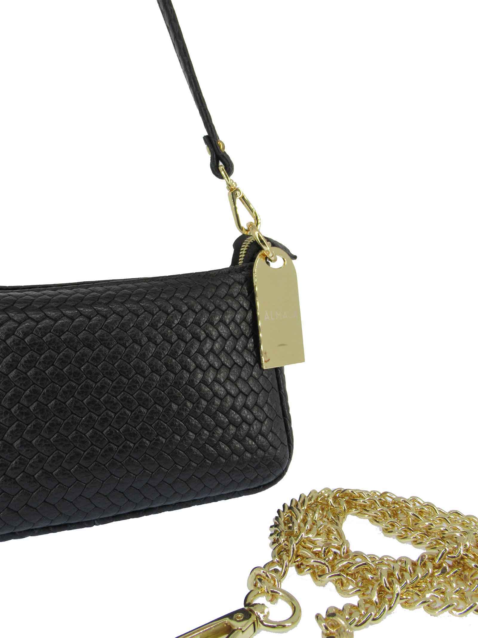 Women's Bibi Clutch Bag in Black Braided Leather with Leather Shoulder Strap and Gold Chain 091a0021 Almala | Bags and backpacks | BIBI001