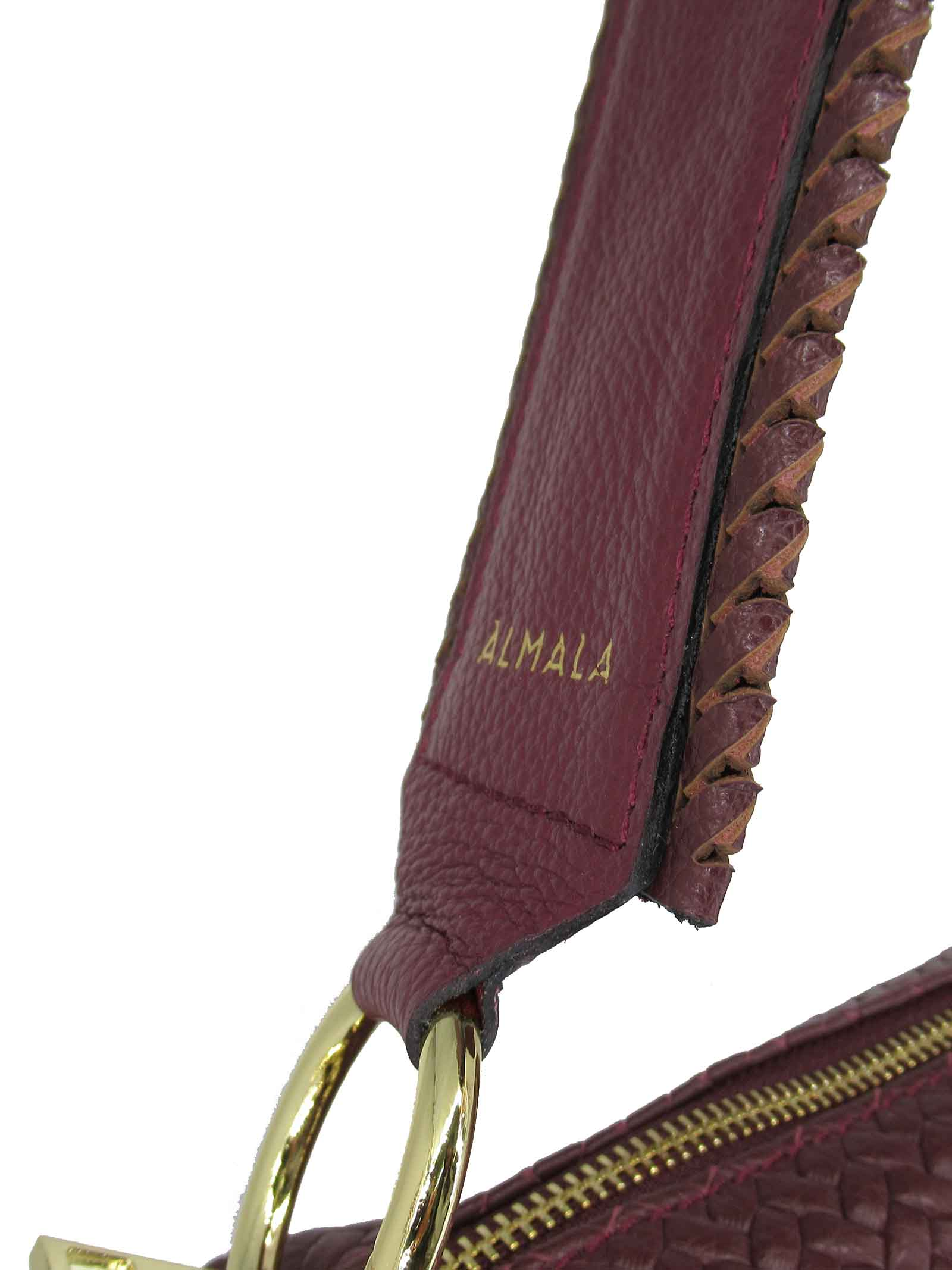 Women's Shoulder Bag Carolina in Bordeaux Braided Leather with Leather Shoulder Strap cce051a0021 Almala | Bags and backpacks | CAROLINA018