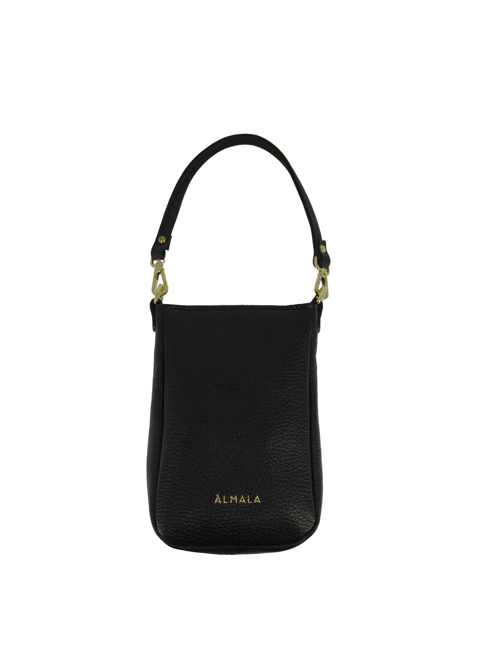 Women's Large Shoulder Shopping Bag Norma in Black Leather with Adjustable Leather Shoulder Strap with Gold Chain cg071a0211 Almala | Bags and backpacks | NORMA001