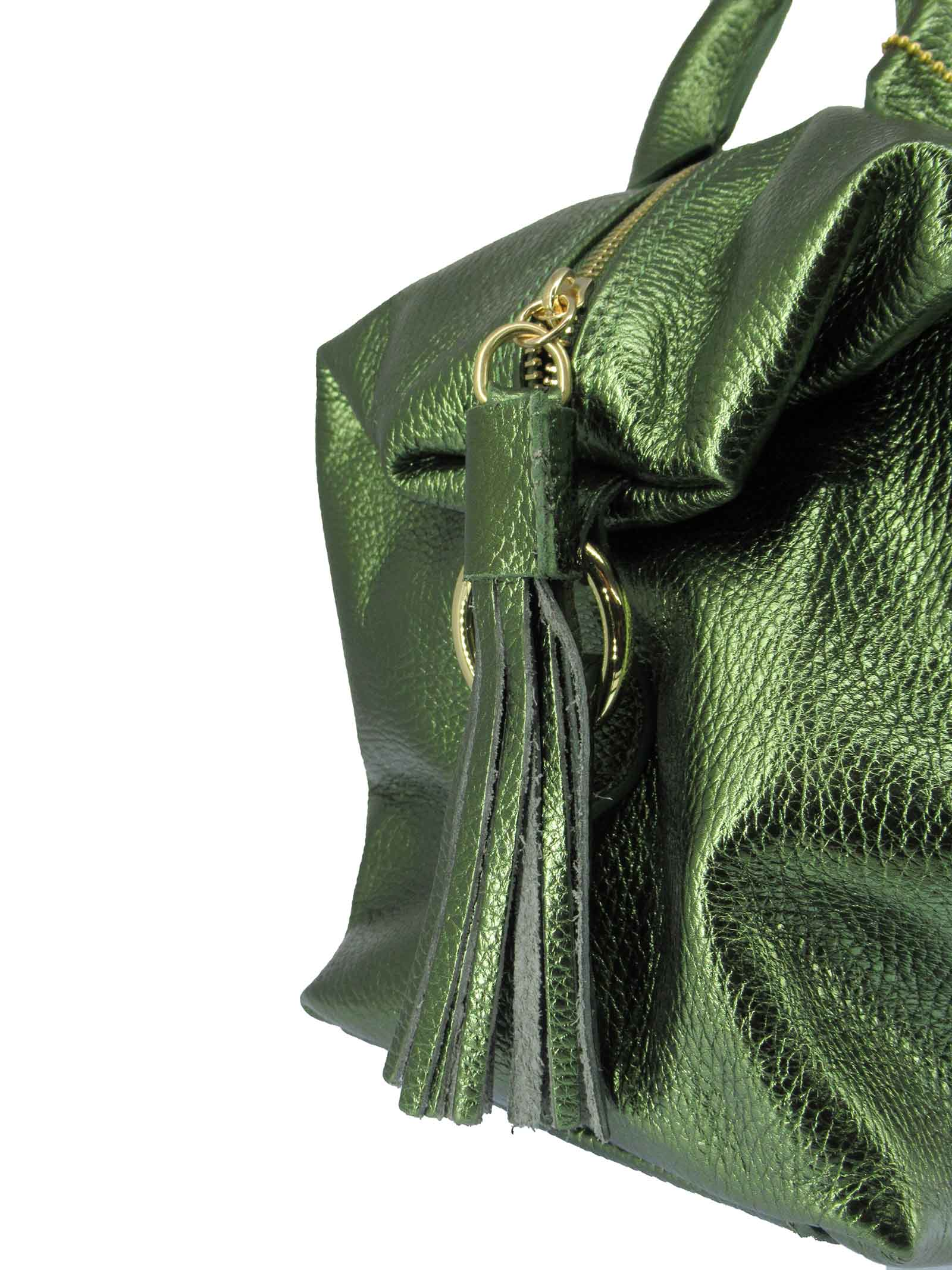 Women's River Shoulder Bag in Green Laminated Leather with Adjustable and Detachable Leather Shoulder Strap gd041c3111 Almala   Bags and backpacks   RIVER005