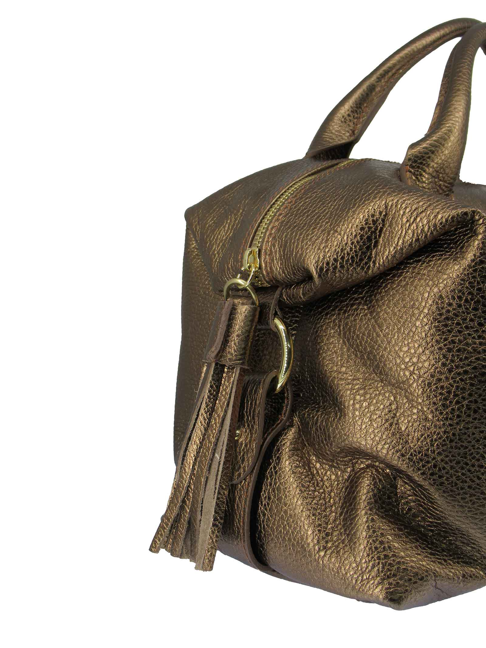 Women's River Shoulder Bag in Bronze Laminated Leather with Adjustable and Detachable Leather Shoulder Strap gd041c3111 Almala   Bags and backpacks   RIVER601