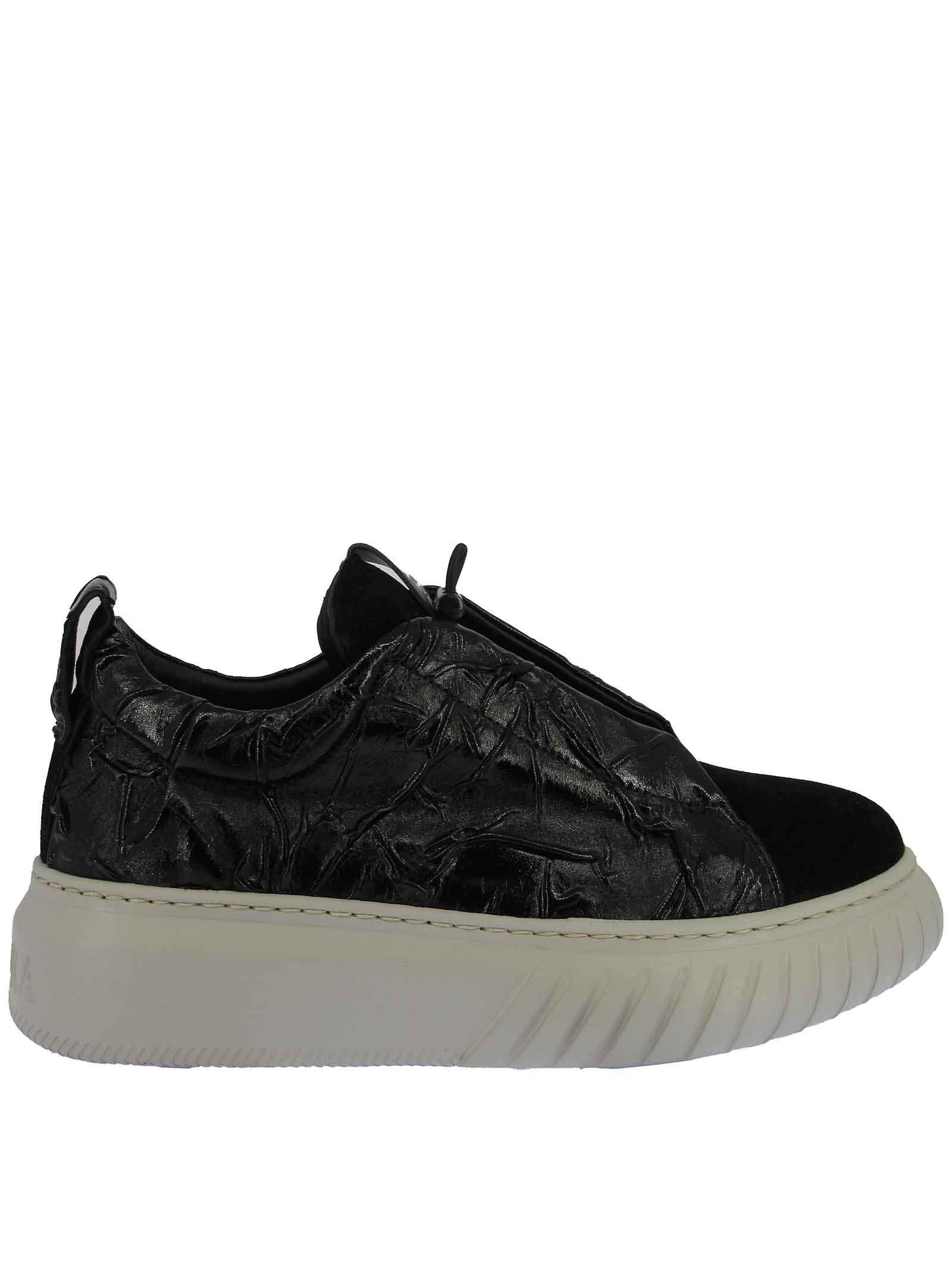 Calzature Donna Sneakers in Pelle e Camoscio Nero con Elastici in Tinta e Fondo Zeppa Bianco Ghiaccio Andiafora | Sneakers | LIBIC001