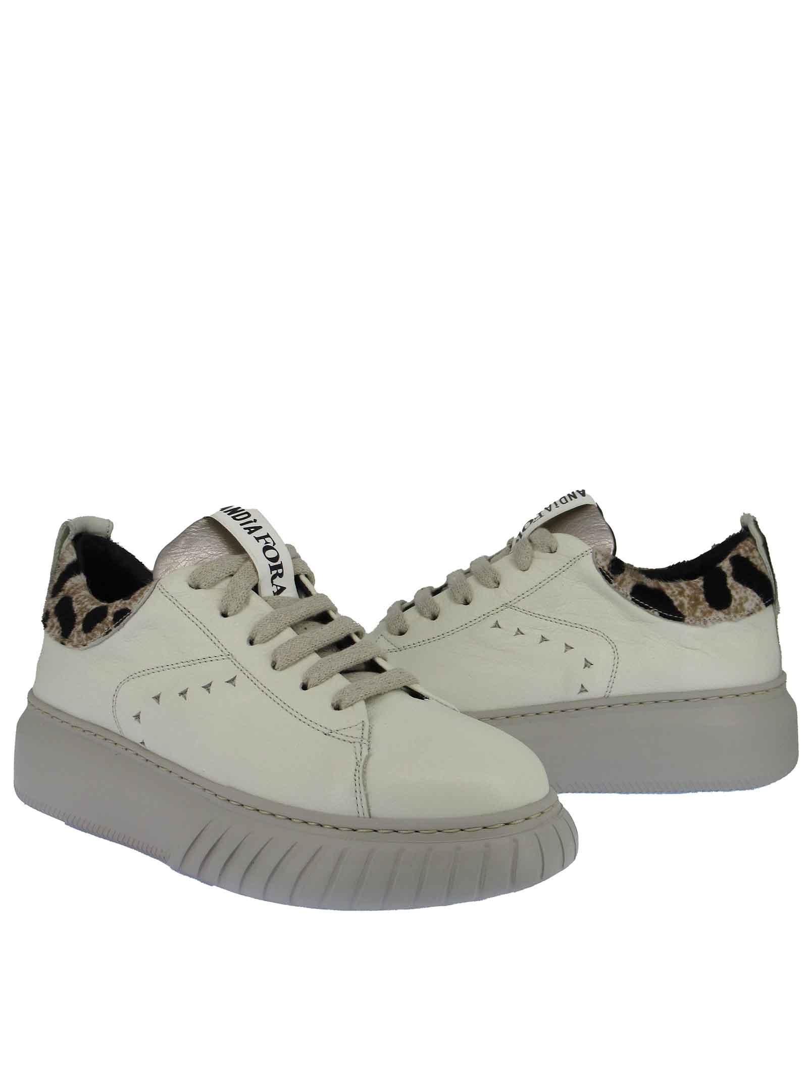 Calzature Donna Sneakers Stringate in Pelle Panna con Riporti Animalier e Fondo Zeppa Bianco Ghiaccio Andiafora | Sneakers | ZOE100