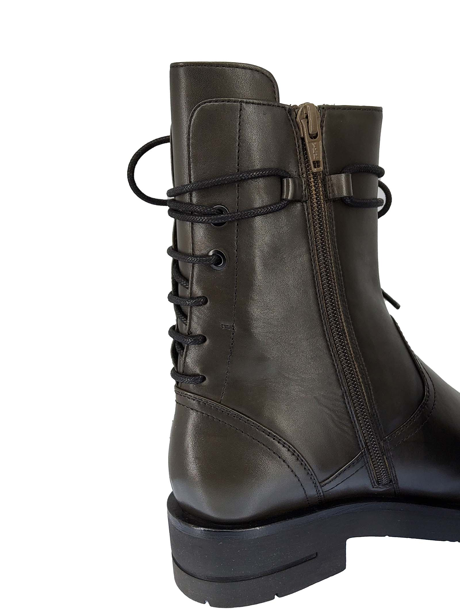 Women's Shoes Gil Lacy Amphibious Boots in Green Leather with Rear Lacing Side Zip and Rubber Sole Bruno Premi   Ankle Boots   BC0404X005
