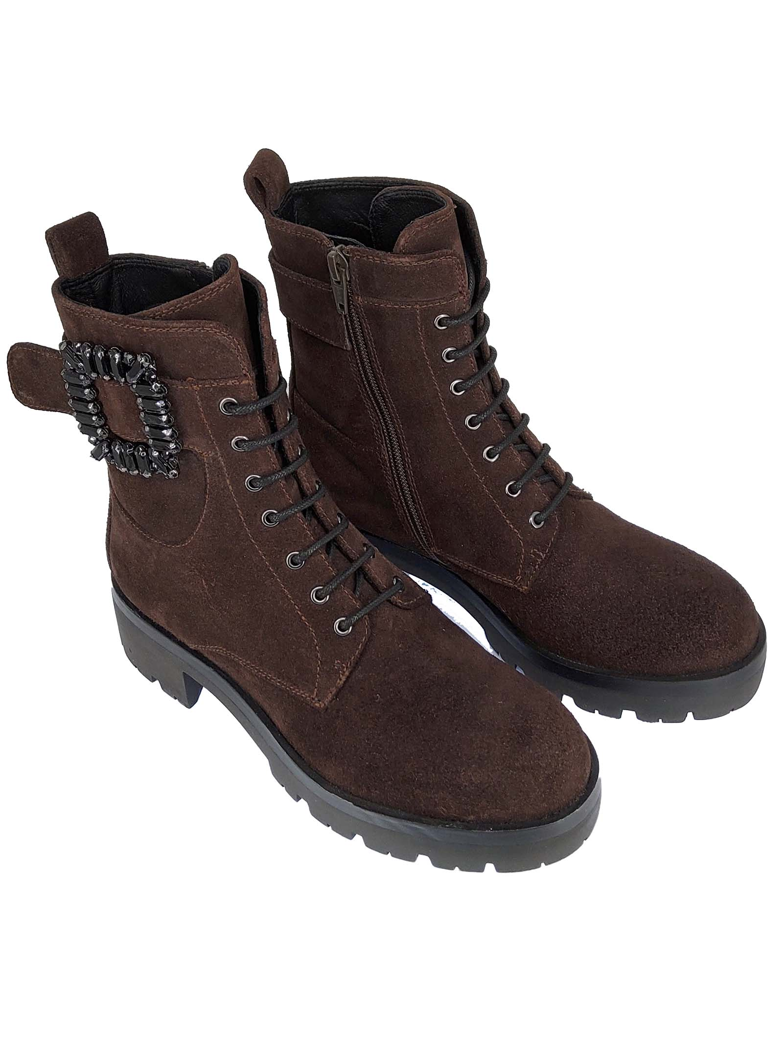 Women's Shoes Gao Ely Amphibius Boots in Brown Suede with Buckle and Side Strap and and Rubber Tank Sole Bruno Premi | Ankle Boots | BC0501X013