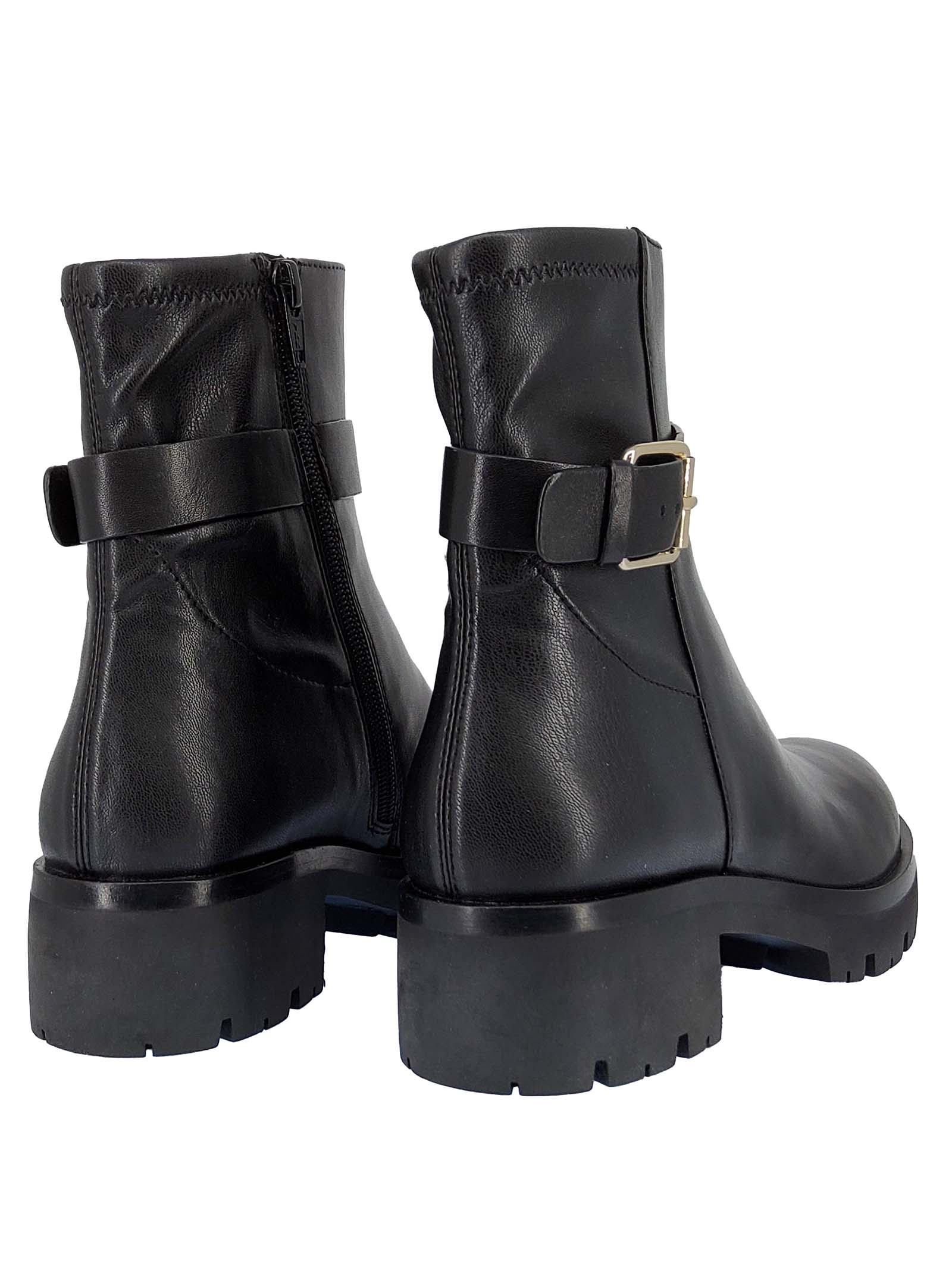 Women's Dory Oxeen Ankle Boots in Black Leather with Buckle and Side Strap and Rubber Sole Tank Bruno Premi | Ankle Boots | BC0507X001