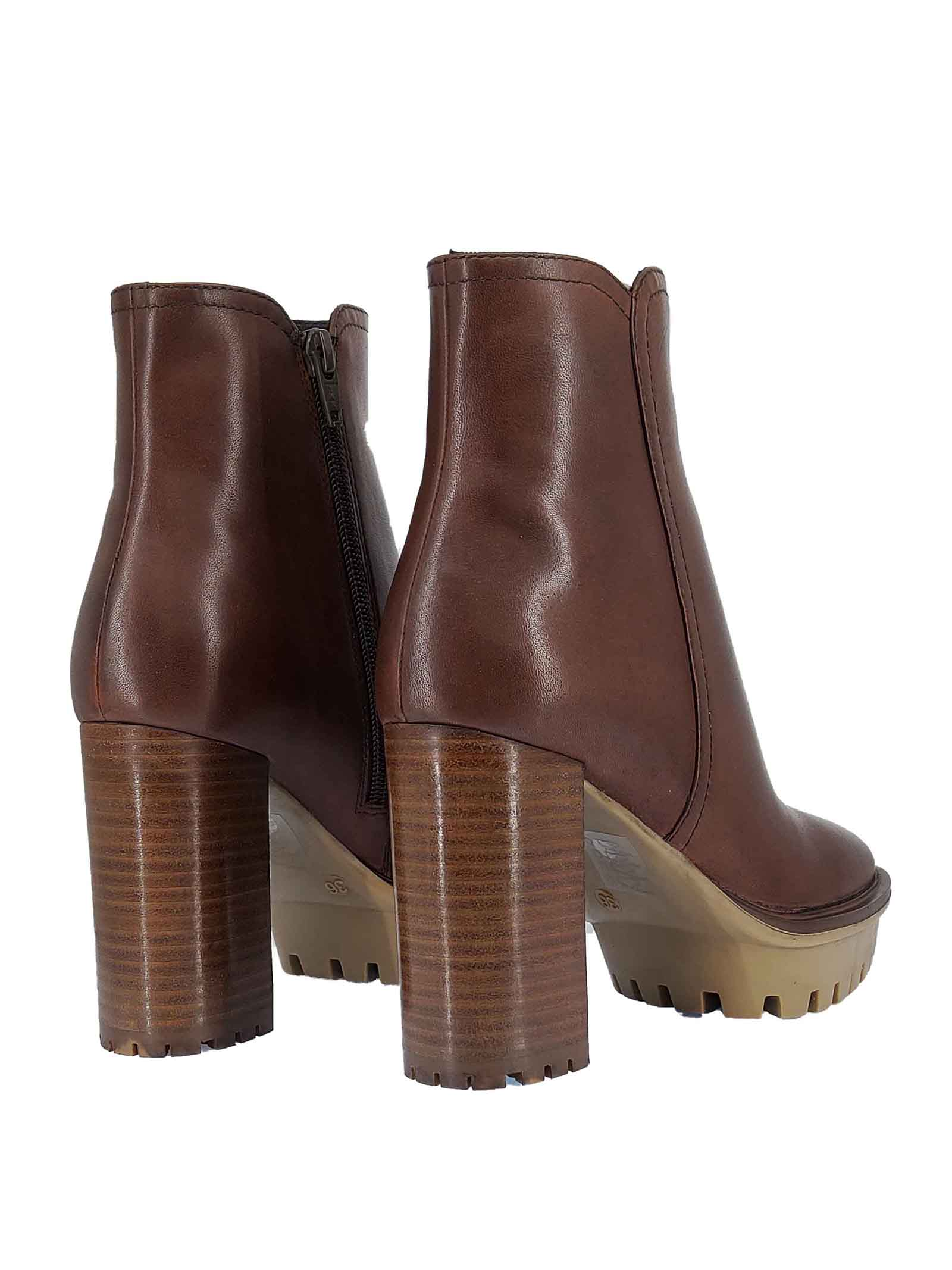 Women's Shoes Tep Tea Ankle Boots in Brown Leather with High Heel and Matching Rubber Plateau Bruno Premi   Ankle Boots   BC0905X013