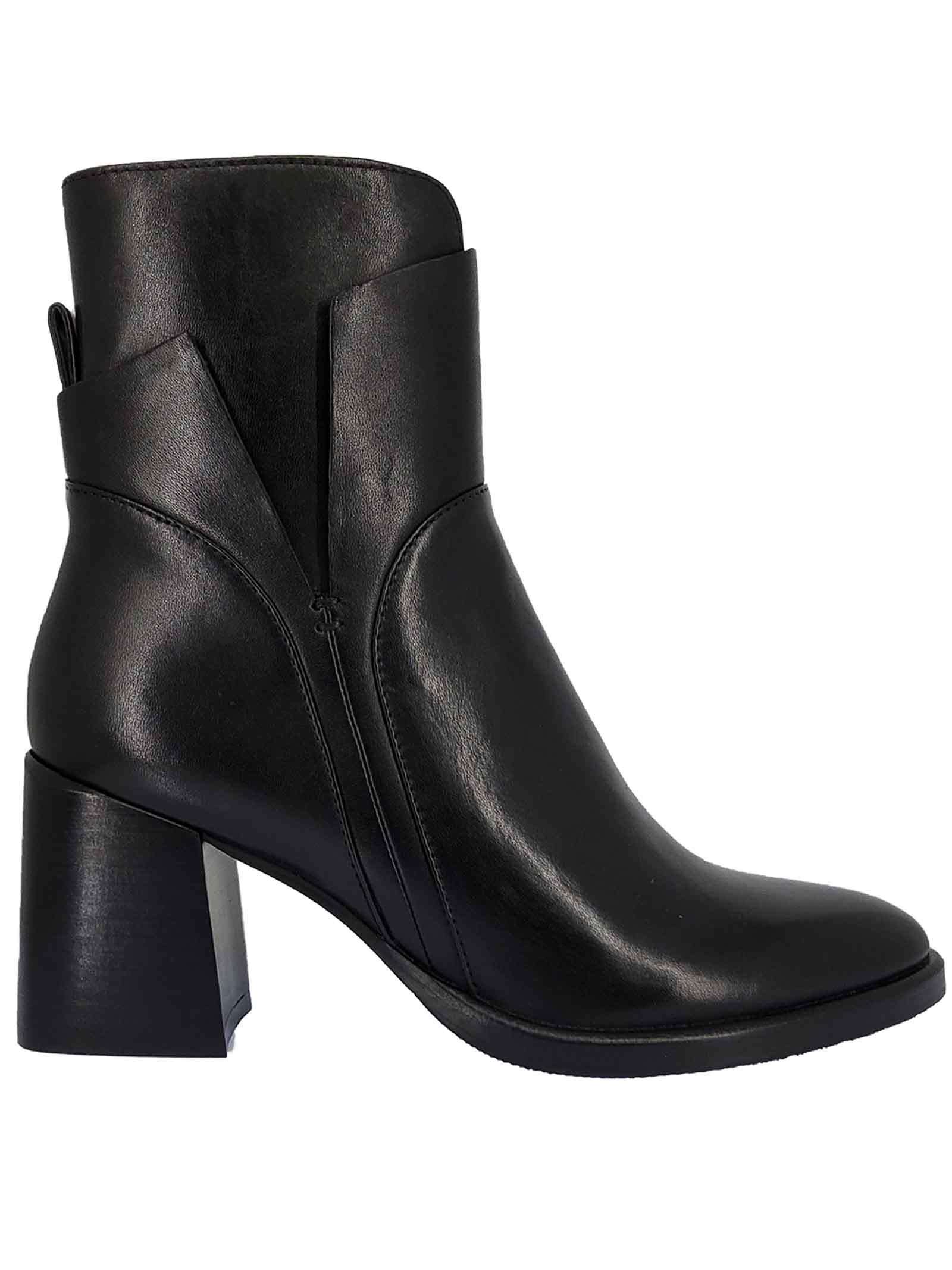 Women's Shoes Dali Vea Boots in Black Leather with Leather Heel and Side Zip Bruno Premi | Ankle Boots | BC1604X001